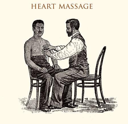 sternum: Heart massage (external), vintage illustration Stock Photo