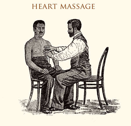 Heart massage (external), vintage illustration Stock Photo