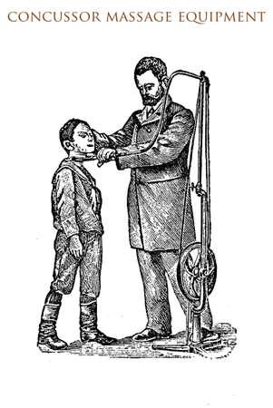 masseur: Concussor massage equipment,vintage illustration