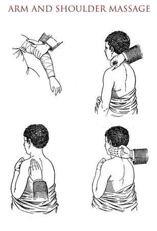 masseur: Arm and shoulder massage, vintage illustration