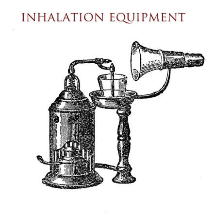 inhalation equipment, vintage illustration Stock Photo