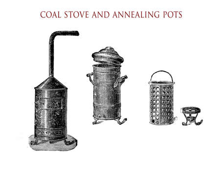 holzbriketts: Vintage illustration, wood- or coal stove with ventpipe and annealing pots Lizenzfreie Bilder