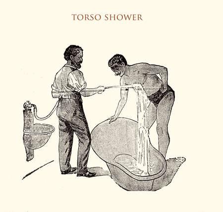 torso pressure shower, vintage illustration Stock Photo