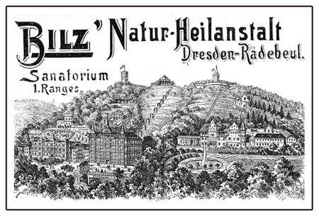 Bilz sanatorium end 800 advertising,XIX century illustration Stock Photo