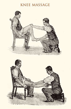 Leg and knee massage, vintage illustration