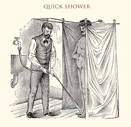 Quick showerr,vintage illustration Stock Photo