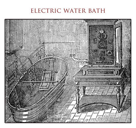 electrocution: Electric water bath,vintage illustration