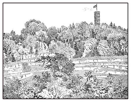 Sanatorium park, vintage illustration of one of the many private health establishment in Germany in XIX century