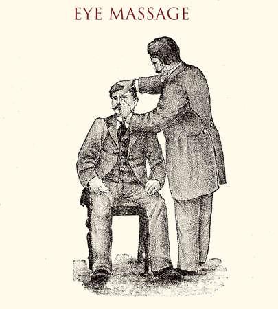 Eye massage, vintage illustration
