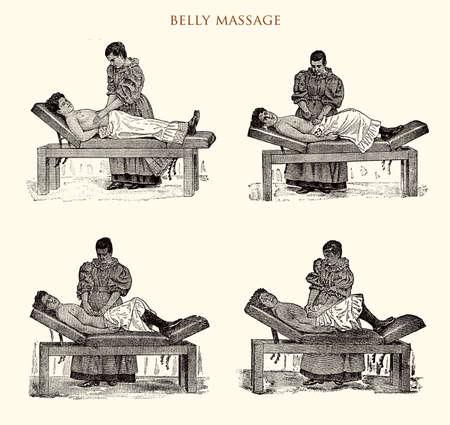 masseur: Belly massage, vintage illustration