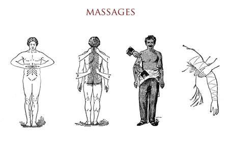 masseur: Massages, vintage illustration