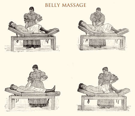 Belly massage, vintage illustration