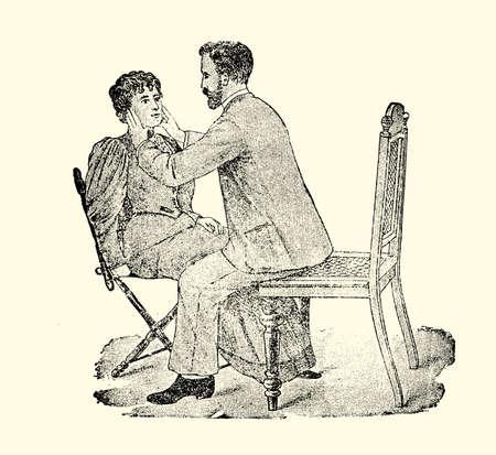 masseur: Ears massaging technique Stock Photo