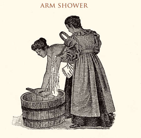 Arm shower,vintage illustration Stock Photo