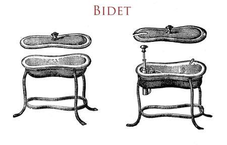 hygene: Bidet, toilet equipment,vintage illustration