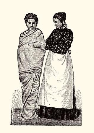 Wet towel massage - flat hand therapy,vintage illustration