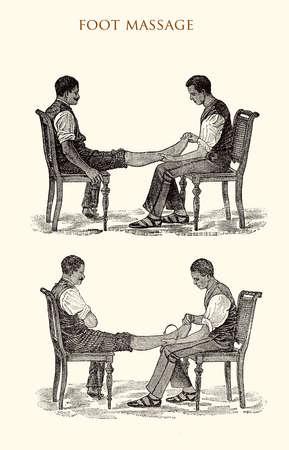 Foot massage, vintage illustration Stock Photo