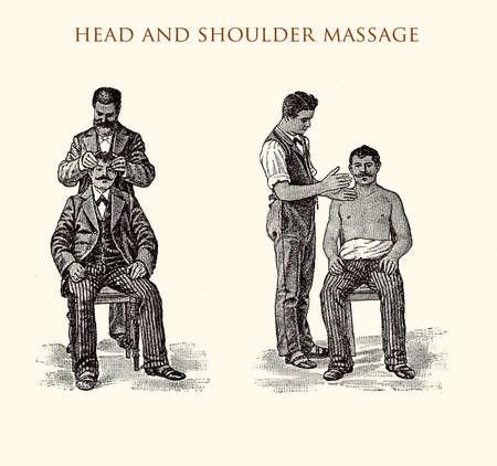 Head and shoulder massage, vintage illustration