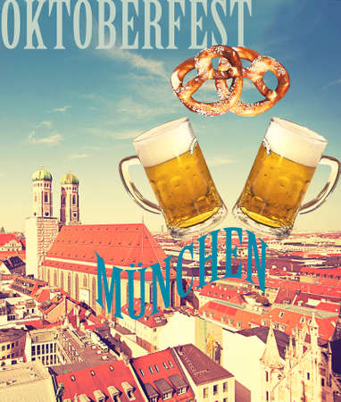 Munich beer and pretzels to celebrate Oktoberfest beer festival, poster with vintage flair Stock Photo
