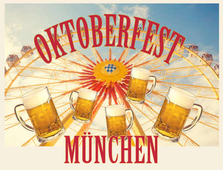 Symbolic representation of Oktoberfest, famous beer festival in Munich, poster with a vintage flair Stock Photo