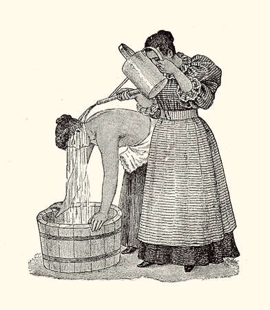 Ear shower, vintage illustration