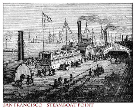 California, San Francisco Steamboat Point, engraving from year 1873 before the 1906 earthquake which destroyed over 80% of the city