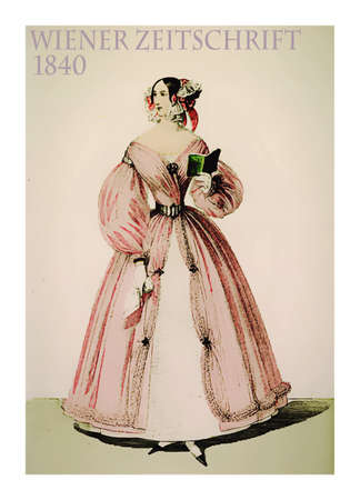 old times: Vienna 1840 fashion, young lady fancy dressed in pink with hairdo,laces, floral decorations and a small book in hand ,vintage illustration