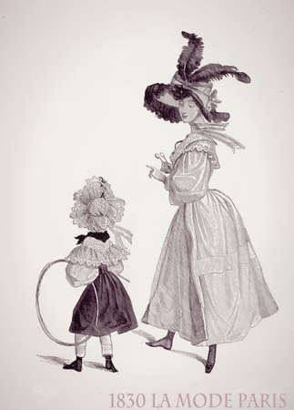 Paris 1830 ladies fashion outdoors, young lady and little daughter with fancy dress, laces and frills ready for a walk, vintage magazine illustration