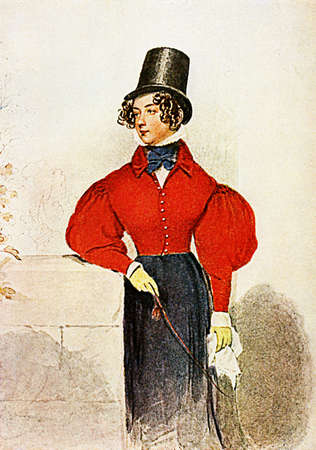 Early XIX century fashion, noble young lady with red riding dress, whip,handkerchief, haido and black stovepipe hat posing outdoors