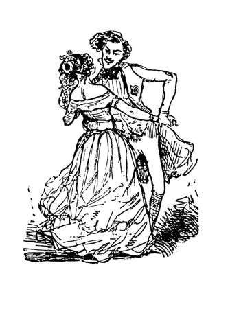 old times: Fashionable couple with party outfit dancing, XIX century illustration Stock Photo