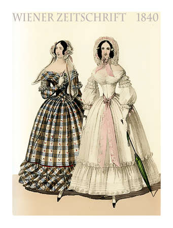 Vienna 1840 fashion, two young ladies fancy dressed with hats and parasol ready to go outside, vintage illustration