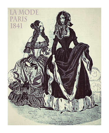 Paris 1841 fashion; two young ladies fancy dressed with ermine fur decoration, hat, hairdo and veil ready to go outside, vintage illustration