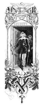 orden: University student caricature and allegory framed with lifestyle symbols, XIX century engraving Stock Photo