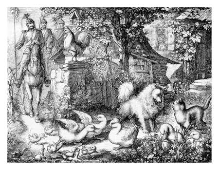 Soldiers are coming, creating havoc among the animals in the farmyard, engraving from XIX century Stock Photo