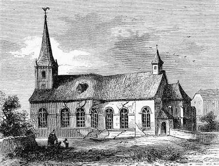 catholicism: Germany,catholic church in Iserlohn, vintage illustration Stock Photo