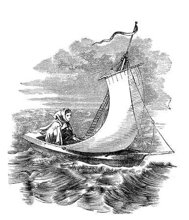 Farewell,young woman leaving in sailboat toward the stormy weather,XIX century engraving Stock Photo