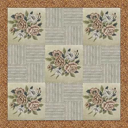 stitched: brown and beige patchwork background with different patterns, stitched flowers and animalier border