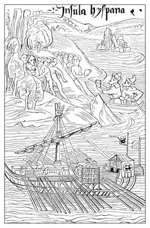 colon: Columbus first New World landing on Guanahani island (San Salvador)
