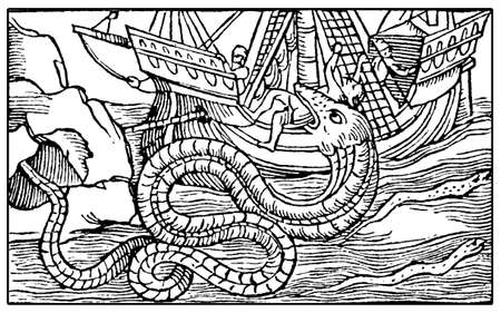 Fantastic marine monster like a sea snake eating sailor from a medieval caravel, XVI century engraving Stock Photo