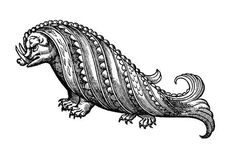 Fantastic sea monster: hog whale or walrus, medieval engraving XVI century Stock Photo