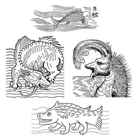 Mythical sea monters, medieval engraving