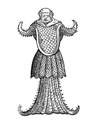 Marine sea monk monster resembling a jellyfish, medieval engraving, year 1598