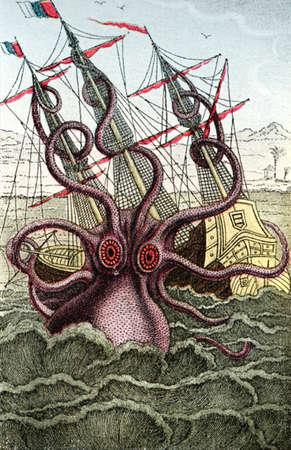Kraken, giant sea monster attacks caravel, medieval print Stock Photo