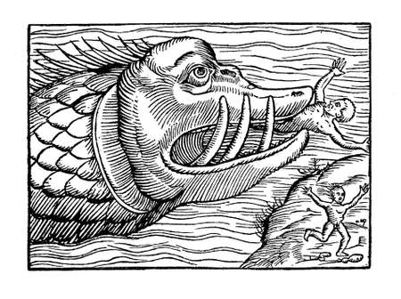 Sea monster eating humans, medieval engraving, year 1550 Stock Photo