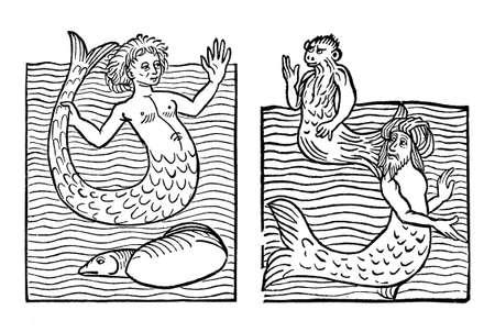 Sea monster and humal-like creature: mermaid, sea monkey, sea turk, medieval engraving, year 1491 Stock Photo