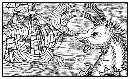 Mythical sputtering whale attacking medieval vessel, XVI century engraving Stock Photo
