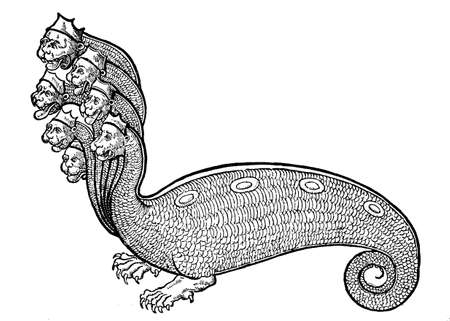 Sea monster: hydra with seven crowned lion heads, mythological creature, medieval engraving, year 1530