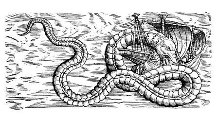 Fantastic marine monster, a sea snake, eating sailor from a medieval caravel, XVI century engraving Stock Photo