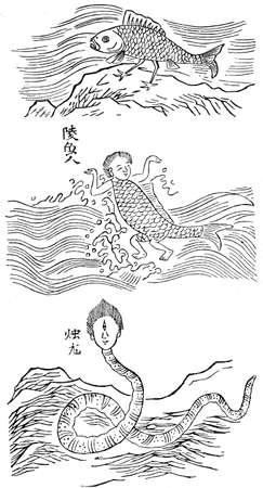 Fantastic sea animals, old chinese print, XVI century