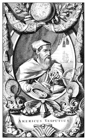 Portrait of Amerigo Vespucci, italian explorer demonstrated that the West Indies were a unknown fourth continent, then called America after his name in XVI century